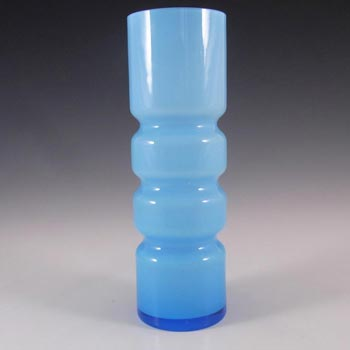 Scandinavian / Swedish 1960s Blue Hooped Cased Glass Vase
