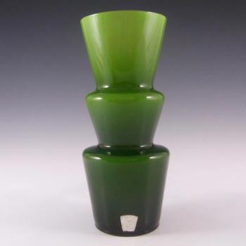 Lindshammar 1970's Swedish Green Hooped Glass Vase