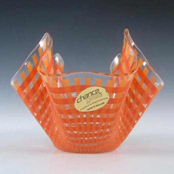 Chance Brothers Orange Glass 'Gingham' Handkerchief Vase - Label