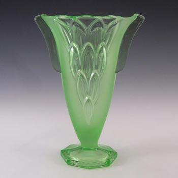 Stölzle #19085 Czech Art Deco Uranium Green Glass Vase