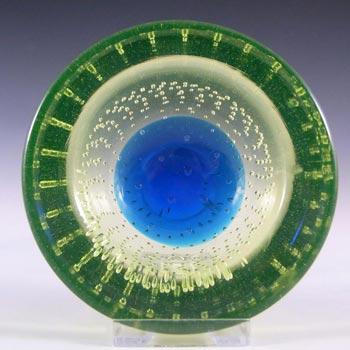 Galliano Ferro Murano Bullicante Blue & Uranium Glass Bowl
