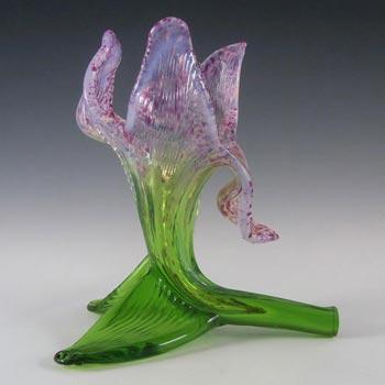Kralik Art Nouveau 1900's Opalescent Floriform Glass Vase