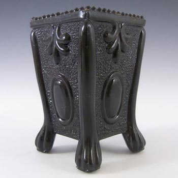 Antique 1890's Victorian Black Milk Glass Spill Vase