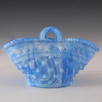 Victorian 1890's Blue Malachite/Slag Glass Basket Bowl