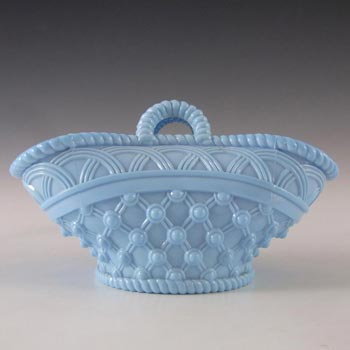 Antique 1890's Victorian Blue Milk Glass Basket Bowl
