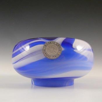 Carlo Moretti Marbled Blue & White Murano Glass Bowl