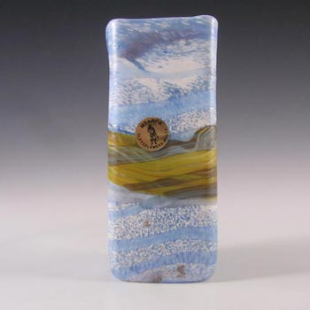 Mtarfa Maltese Marbled Blue & White Glass Vase - Signed