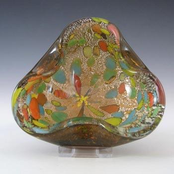 Murano Venetian Amber Glass Silver Leaf Bowl/Ashtray