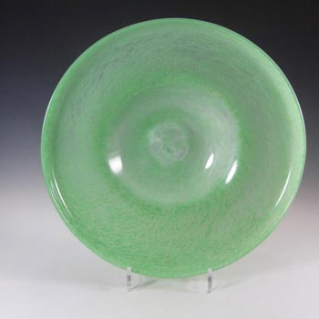 Nazeing Large Clouded Mottled Green Bubble Glass Bowl #1050