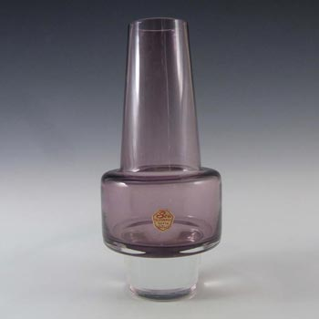 Sea Glasbruk 1970s Swedish Purple Glass Vase - Labelled