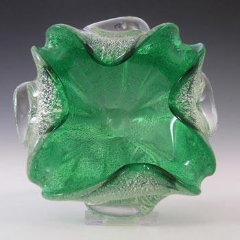 Murano Venetian Green Glass & Silver Leaf Bowl/Ashtray