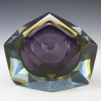 Murano Faceted Purple & Blue Sommerso Glass Block Bowl