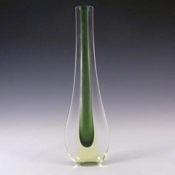Galliano Ferro Murano Sommerso Green & Uranium Glass Stem Vase
