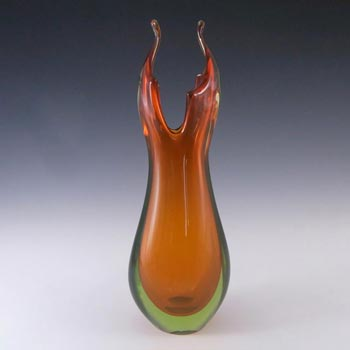 Murano/Venetian Orange & Uranium Green Sommerso Glass Vase