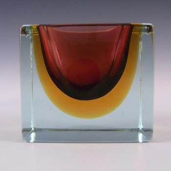 Murano Faceted Amber & Blue Sommerso Glass Block Bowl