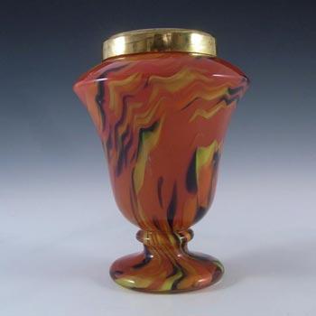 Czech Red, Black & Yellow Spatter/Splatter Glass Vase