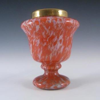 Czech 1930's Red & White Spatter/Splatter Glass Vase
