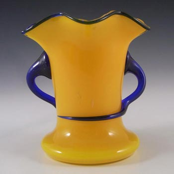Czech 1930's/40's Yellow & Blue Glass Tango Vase