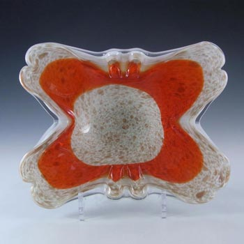 Fratelli Toso Murano Copper Aventurine Orange Glass Bowl