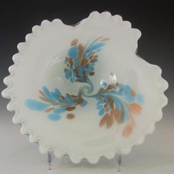 Fratelli Toso Murano Copper Aventurine White Glass Bowl