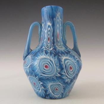 Fratelli Toso Millefiori Canes Murano Blue & White Glass Vase