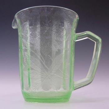 Jeannette Poinsettia Floral Green Depression Glass Jug/Pitcher