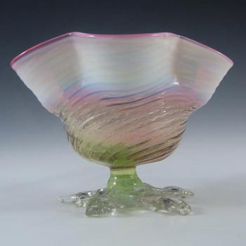 Victorian Pink, Green & Opalescent White Glass Bowl c 1890