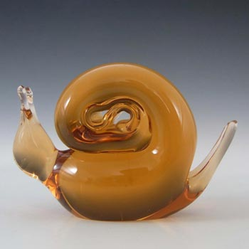 Wedgwood Topaz Glass Snail Paperweight L5011 - Marked