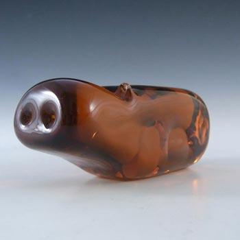 Wedgwood Topaz/Amber Glass Hippo SG461 - Marked