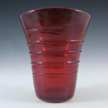 Whitefriars #8886 Powell Ruby Red Glass Ribbon Trail Vase