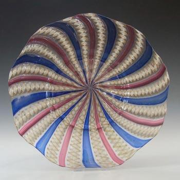 Salviati Murano Zanfirico & Aventurine Pink/Blue Glass Plate