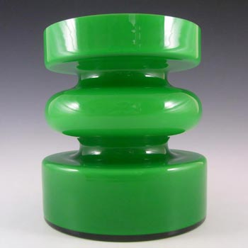 lsterfors #S5003 Per Olof Strom Green Cased Glass Hooped Vase
