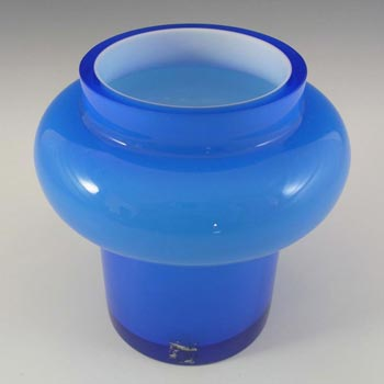 SIGNED Alsterfors/Per Strom Blue Hooped Cased Glass Vase - Click Image to Close