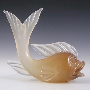 Archimede Seguso Alabastro Glass Fish Sculpture - Label