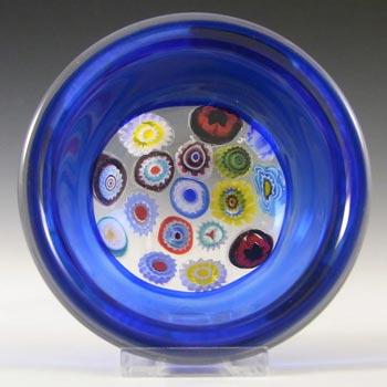 Archimede Seguso Murano Incalmo Millefiori Blue Glass Bowl