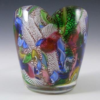 AVeM Murano 1950's Zanfirico + Aventurine Red Glass Vase