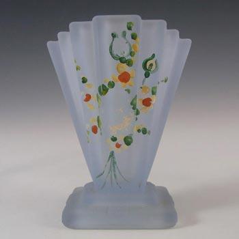 Bagley #334 Art Deco Painted Blue Glass 'Grantham' Vase