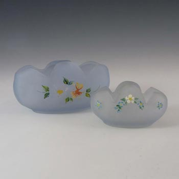 Bagley #3169 Art Deco Frosted Blue Glass 'Tulip' Posy Bowls