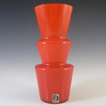 Lindshammar / JC 1970's Swedish Red Hooped Glass Vase