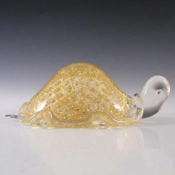 Cenedese Murano Gold Leaf Bullicante Glass Tortoise - Signed