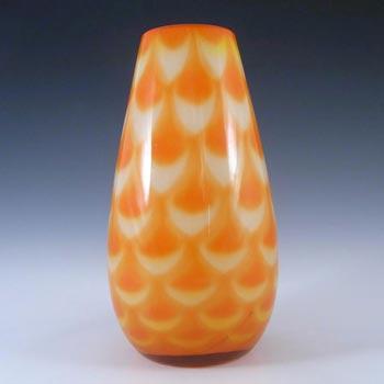 Elme 1970s Scandinavian Orange Cased Glass Peacock Vase