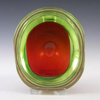 Murano Geode Red & Uranium Green Sommerso Glass Oval Bowl