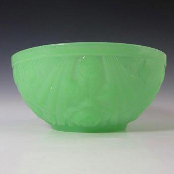 Jobling #8000 Art Deco Uranium Jade Green Glass Tudor Rose Bowl
