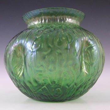 Art Nouveau Bohemian 1900's Iridescent Green Glass Vase