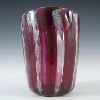 Murano Zanfirico Filigree Red & White Glass Tumbler / Vase