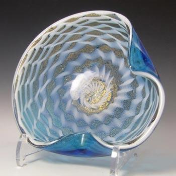 Murano Gold Leaf Blue & White Glass Zig Zag Bowl