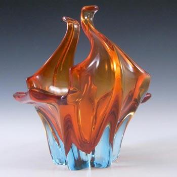 Cristallo Venezia CCC Murano Blue & Red Sommerso Glass Organic Bowl