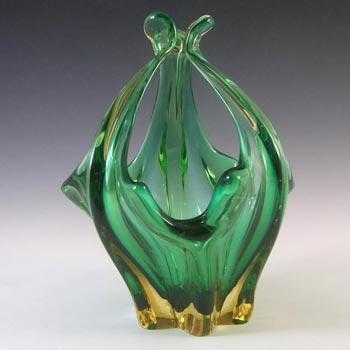 Cristallo Venezia CCC Murano Green & Amber Sommerso Glass Bowl