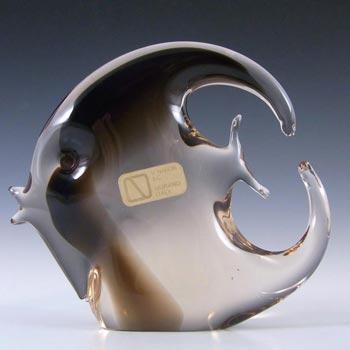 V. Nason & Co Murano Amber Glass Fish Sculpture - Label