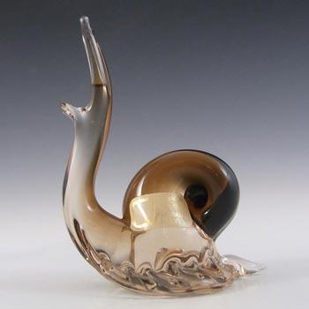 V. Nason & Co Murano Amber Glass Snail Sculpture - Label